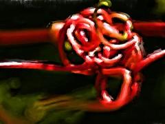 Vine Twine Pas 1 (Fire Engine Red) Tags: canada nature essexcounty digitalart knot leamington grapevine southwesternontario havingfunwiththis corelpainteressentials5 iloveplayingwithcorelstuff