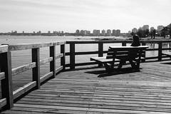 Loneliness (Bruno Da Silva) Tags: blackandwhite film monochrome analog bench uruguay loneliness banco deck porto praa analogue pretoebranco solido puntadeleste analgico canoneos300 agfaapx400 brunosilva filmisnotdead