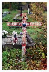 Birch Hill Cemetery (R. Drozda) Tags: autumn clock film grave alaska fallcolor cross heart americanflag minoltasrt101 fairbanks peacesymbol gravemarker colorfilm gravegoods fujicolorsuperiaxtra800 roll47 drozda birchhillcemetery pandalab3890 rodgerwmarler rokkor58mm14lens