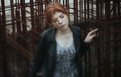Behind bars (Taoyami) Tags: street red art girl beautiful beauty fashion canon bars style tenderness genre tiltshift