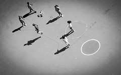 Shadow Skip (DobingDesign) Tags: sanfrancisco california school blackandwhite playing game lines kids yard children fun us shoes shadows play unitedstates outdoor circles group hats silhouettes rope sneakers together playtime skip oblique skipping skippingrope havingfun paintedlines playfulmoment