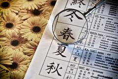 #Printemps (giloudim) Tags: metal fleurs jaune noir chinois printemps intrieur japonais verre ecriture loupe calligraphie flickrfriday canon7dmarkii