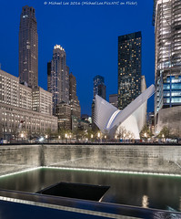 9/11 Memorial and WTC Transportation Hub (DSC04260) (Michael.Lee.Pics.NYC) Tags: longexposure newyork architecture night twilight cityscape sony worldtradecenter wtc bluehour lowermanhattan oculus santiagocalatrava 911memorial transportationhub a7rm2 zeissloxia21mmf28