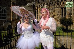 IMG_9314 (Neil Keogh Photography) Tags: pink flowers blue white green abbey graveyard yellow dreadlocks female umbrella fence shoes purple candy boots lace bra gothic goth goggles trainers tattoos gloves corset braids spikes gravestones tutu choker cybergoth whitbyabbey dogcollar fishnettights whitbygothweekend fishnettop april2016
