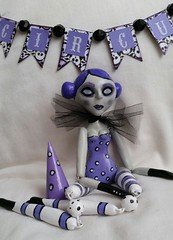 Circus Doll (Home and Heart) Tags: black vintage dead purple circus zombie paperclay swapbot
