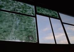 'Window' iii. (miranda.valenti12) Tags: sunset sky sunlight green abandoned broken window glass clouds factory box warehouse frame boxes shattered