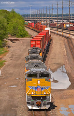 """Eastbound Intermodal in Kansas City, KS (""""Righteous"""" Grant G.) Tags: city railroad up train pacific union railway trains double stack east container kansas locomotive bnsf detour eastbound intermodal reroute"""