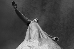 Statue of Jesus on the top of Sagrat Cor. (Juan R. Ruiz) Tags: barcelona sculpture byn blancoynegro church statue canon temple blackwhite europa europe iglesia escultura catalunya templo catalua barna sacredheartofjesus sagradocorazn sacredcoeur estatus canon60d canoneos60d temploexpiatoriodelsagradocorazn