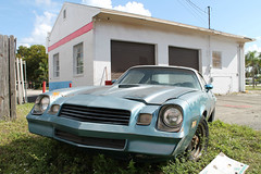 Exhausted (Flint Foto Factory) Tags: christmas city blue winter sunset urban holiday chevrolet car us weeds highway gm december day view florida fort muscle garage platform front camaro faded pony chevy tired 1981 ft 1980 exhausted 41 hanson beatup myers z28 generalmotors oilchange 2015 fbody threequarter 3018 worldcars sclevelandave 10minit