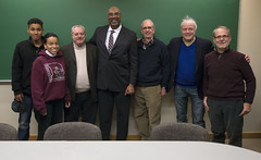 Dr. Aaron Mair with members of the Ann Arbor Sierra Club (snre) Tags: sierraclub aaronmair michgan mlklecture uofm universityofmichigan annarbor michigan people lecture indoor