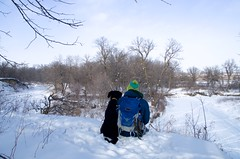 Still Cold (j.caleb12) Tags: park camera camping trees winter dog snow cold ice water minnesota forest river puppy landscape outdoors frozen buffalo midwest state bend pentax hiking north hike ridge explore backpacking backpack wilderness snowfall wonderland dakota k50