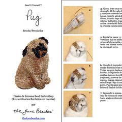 PDF en espaol: PUG Tutorial de bordado con cuentas del prendedor o pendiente de perro (The Lone Beader) Tags: dogs beads amazon handmade embroidery sewing pug jewelry perro spanish espanol pdf etsy beading beadwork cuentas beadembroidery