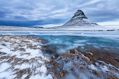 Frozen Kirkjufell (Gragio) Tags: blue winter sky white ice clouds frozen iceland coth absolutelystunningscapes canon5dmarkiii