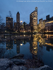 Central Park Pond (P1152449-Edit) (Michael.Lee.Pics.NYC) Tags: longexposure newyork reflection night pond rocks centralpark olympus plazahotel bluehour fifthavenue mkii markii gapstowbridge gmbuilding em5 714mmpro28