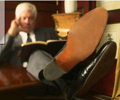 Boss with this feet on the desk! (TBTAOTW2011) Tags: old boss man black feet leather businessman silver hair daddy shoe grey shoes dad dress tie business suit mature fox sole soles propped