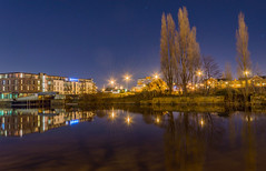 Buildings, Trees and Reflections (AngelCrutch) Tags: longexposure blue trees water night buildings reflections riverside streetlights yorkshire wakefield westyorkshire rivercalder wakefieldatnight