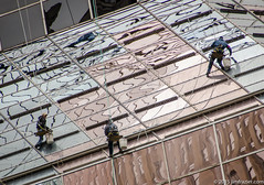 A Trio of Window Washers (Jim Frazier) Tags: windows chicago building fall glass skyscraper work illinois workers october loop f10 il washers q3 2015 jimfraziercom fastpictures 20151003chicago
