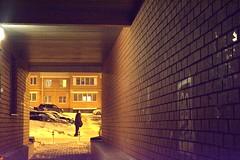 Walk along (alexwinger) Tags: man cars yellow mystery night nikon walk bricks tunnel d5200