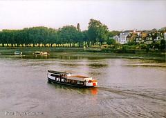 Pleasure Boat on the River Thames. (Banchango) Tags: water kew river boats 1991 riverthames
