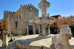 Taormina's cathedral and the fountain on Piazza del Duomo. (Apostolis Giontzis) Tags: italy sculpture church monument fountain square nikon italia cathedral basilica medieval sicily marble duomo baroque taormina sicilia d800e nikond800e