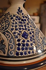 Moroccan Tagine (Cooling Down Again Yay!!!) Tags: blue orange white ceramic four design african pot morocco handpainted ornate conical quatrefoil n45 cookingvessel wk30 flickrbingo4 flickrbingo4n45