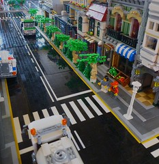Street-scape (LonnieCadet) Tags: road street rescue tree green car ferry fire town lego helicopter modular grocer moc 2016 brickvention lonniecadet bv16