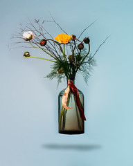 Promised a photo of the bouquet. By Margriet bloembinders Zeist. (Angelbattle bros) Tags: flowers blue light stilllife flower color beautiful yellow early spring bottle floating indoor vase bouquet gel