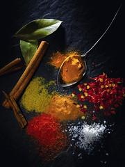 Spicy! (t.schwarze) Tags: red rot yellow jaune rouge chili pentax spice salt spoon gelb sel lffel salz lorbeer gewrze strobist yongnuo pentaxart 560ii