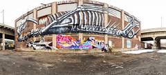 Street Art ([ raymond ]) Tags: street streetart building art skeleton graffiti newjersey mural jerseycity factory grafitti dinosaur warehouse bones