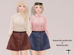 NYU - Buttoned-Up Long Sleeve Shirt & Belted Denim Skirt (NyuNyu Kimono, NYU!) Tags: life up shirt belt long skirt minimal secondlife button second nyu denim sleeve tlc