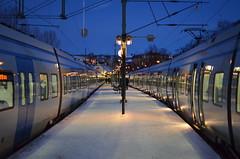 Södertälje C (Mister.Marken) Tags: södertälje earlymorning dawn snow lamp platform train trainstation winter sweden madeinsweden