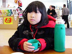 Tea Break :  (Dakiny) Tags: street 2001 trip november autumn portrait people woman girl japan drive child daughter hida familoy takayma