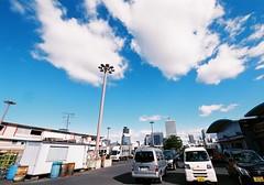 Finishing time of fish market (Mr.S CameraMan) Tags: street sky film japan japanese fuji superia wide vehicle osaka kansai fishmarket filmphotography