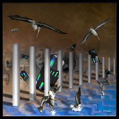 Just thinken (1withone) Tags: birds composite faces poles dyke photoart penqins chromepoles watersurreal
