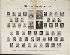 Skiens bystyre. Skiens bystyres medlemmer, valgt for aarene 1914-16 (National Library of Norway) Tags: politicians posters telemark politikk skien politikere plakater nasjonalbiblioteket nationallibraryofnorway johanrd jonassolheim ludvigchristophersen skienbystyre