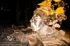 Ice Art - Blow a Kiss (Linnea Nordstrm) Tags: world winter sculpture cold color art ice beautiful alaska night championship artwork colorful artistic cut creative exhibit carving illuminated carve arctic sparkle nighttime colored block lit icy sparkling fairbanks sculpt iceart icepark