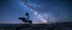 The Galaxy is calling me (CinemaScope Version) (Ateens Chen) Tags: longexposure portrait people lake canada texture water landscape nikon saber ateens milkyway fatestaynight scalefigure d810 starrysky