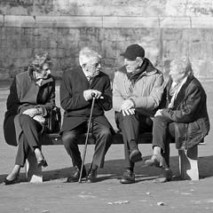 Aan de voet van de Dom (andzwe) Tags: people men tower netherlands dutch cane bench women utrecht domtoren dom nederland bank elderly conversation ouderen interaction vrouwen stok wandelstok bankje mannen groep conversatie senioren panasonicdmcgh4 interaktie