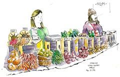 86/366~Sketching at winter farmers market with #USkboston #watercolors #boston #art  #usk #urbansketchers #brushpen #sketchbook #sketch #ink #lineandwash# #colors (j.smita7) Tags: art colors boston ink sketch sketchbook watercolors usk brushpen lineandwash urbansketchers uskboston