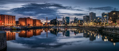 Liverpool at Blue Hour (tony.wish) Tags: city uk panorama reflection building water architecture liverpool reflections dock nikon cityscape pano wideangle bluehour 1855 albertdock liverbuilding salthousedock d5300