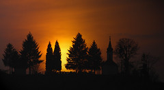 (tozofoto) Tags: travel trees sunset sky holiday travelling church colors silhouette landscape lights europe hungary shadows april zala tozofoto