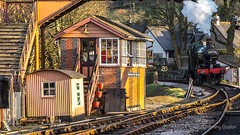 Signal Box (JKmedia) Tags: old people heritage station clouds train vintage fence coach carriage engine rail railway bluesky trains dirty fromabove steam passengers age nostalgic driver signal smelly tender gwr buckfastleigh 2016 bygone 6412 southdevonrailway canoneos7dmarkii gwr060no3205 gwr060ptno6412 boultonphotography