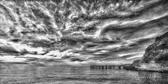 Jetty_Second Valley_2047 (Manni750) Tags: ocean from sea sky water clouds blackwhite fishing locals jetty valley second