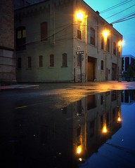 Twilight Reflections (tim.perdue) Tags: city blue light urban reflection puddle evening twilight alley downtown hour