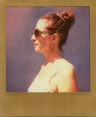 Golden (LeandroF) Tags: portrait film polaroid sx70 purple anika profile instant expired goldframe polaroidweek polaroidsx70sonaronestep impossibleproject sx70color roidweek2016