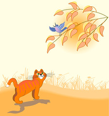 red cat (begemot_dn) Tags: flowers blue autumn red sky plants color tree bird leaves yellow illustration cat dawn evening twilight kitten album picture grasses vector listens observes