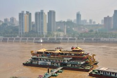 Chongqing (cefan) Tags: china city house buildings river harbor ship tiltshift