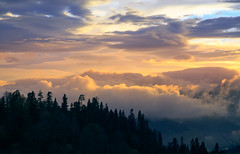 The last expectations... (RKAMARI) Tags: autumn trees light sky cloud mountain colour fall nature fog forest landscape nationalpark hill cities mountainside bolu mountainridge yedigller