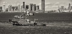 Two Tugs--Mono (PAJ880) Tags: new york city nyc urban bw skyline harbor marine waterfront amy c margaret jersey moran tugs mcallister
