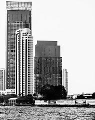 Bangkok from the water (vasilvasspb) Tags: city roof sky blackandwhite water skyline architecture skyscraper buildings river graphics day bangkok future chaophrayariver krungthepmahanakhon